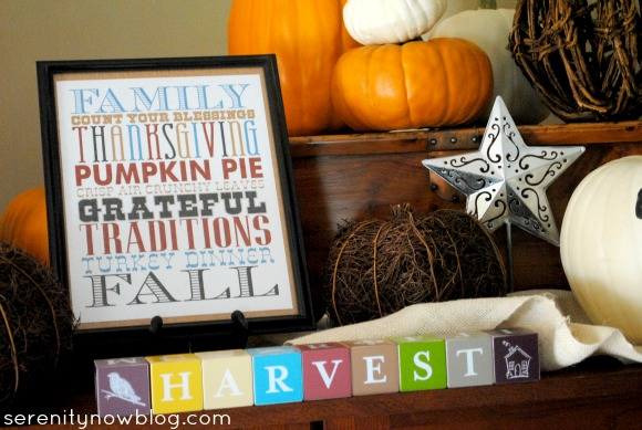 Simple Thanksgiving Mantel (Fake Mantel), from Serenity Now
