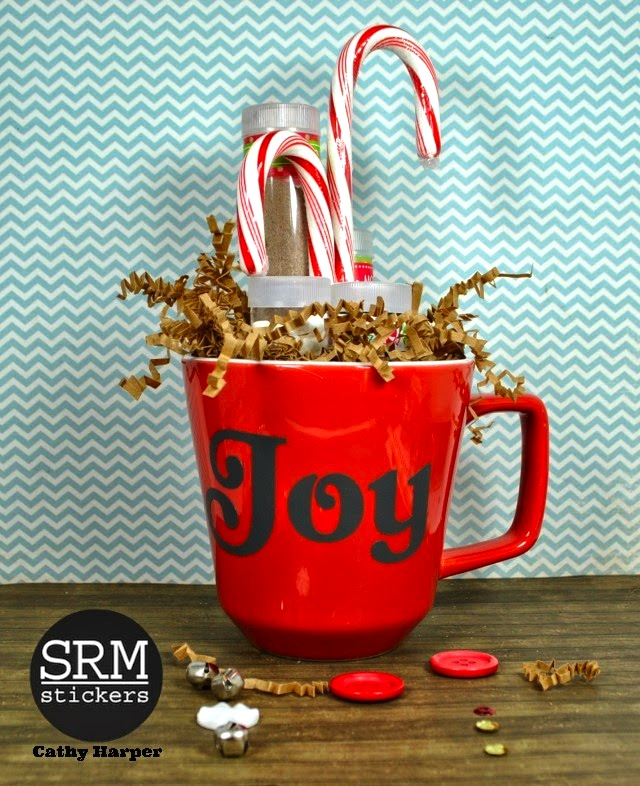 SRM Stickers Blog - Hot Chocolate Tubes by Cathy H. - #christmas #gift #stickers #tubes #twine #vinyl