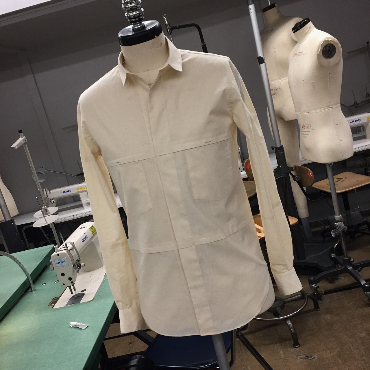 ee0eec13 Here's the shirt I designed last week for my menswear patternmaking class  at Fashion Institute of Technology (FIT). I drafted it from scratch to fit a  men's ...