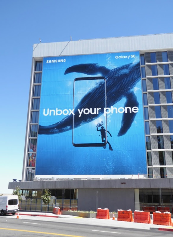 Giant Samsung Galaxy S8 Unbox your phone whale billboard