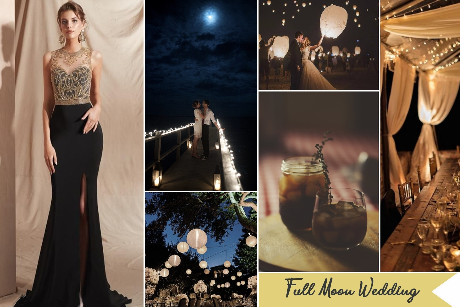 under the full moon wedding collage