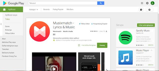 aplikasi penampil lirik di android Musixmatch Music & Lyrics