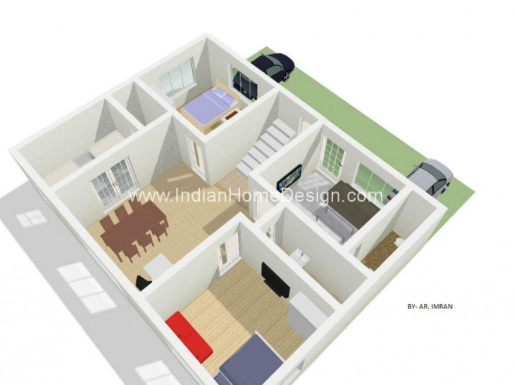 3d Floor Plan Of 2 Bhk Type From Architect M Imran