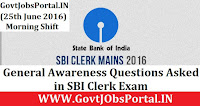 General Awareness Questions Asked in SBI Clerk Exam