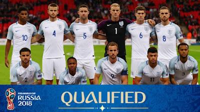 Info dan Data Lengkap Timnas Inggris di Piala Dunia 2018