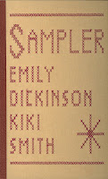 "Front cover of the book ""Sampler"" that shows the red stitching usually associated with quilting"