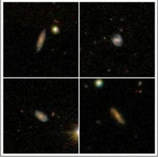 Pictures of four distant galaxies observed with the Arecibo radio telescope, which has discovered that this galaxy is a large hydrogen atom shelter house.