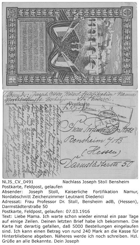 """NLJS_CV_0491 Postkarte von Joseph Stoll an Katharina Stoll (Mutter), gelaufen 07.03.1916, Bestellung von 5000 bereits vergriffen, Erlös an Kasse für Hinterbliebene"""" gespendet; Nachlass Joseph Stoll Bensheim, Stoll-Berberich 2016"""