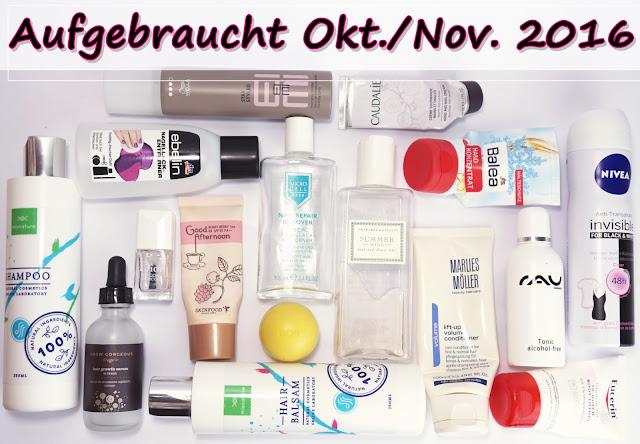 Aufgebrauchte Kosmetik - Oktober/November 2016