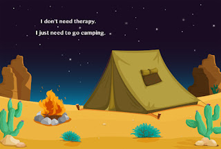 Clipart Image of a Campsite at Night and the Words I Don't Need Therapy I Just Need to go Camping