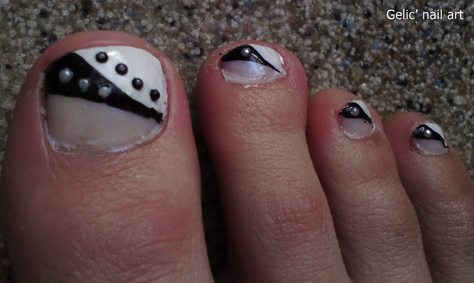 Gelic Nail Art Black And White Pedicure Nail Art With Pearl Rhinestones