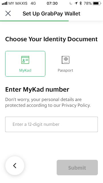 GrabPay - Enter IC or passport