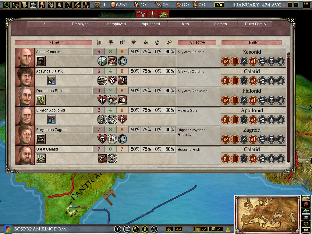 Europa Universalis: Rome - My First EU Game and the Character System