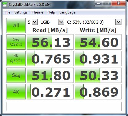 тест на 250GB HDD на WD под Windows 7 в Dell Studio 1555 с драйвери