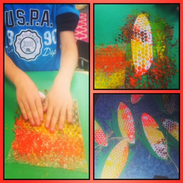 bubble wrap art project for corn - thanksgiving art idea