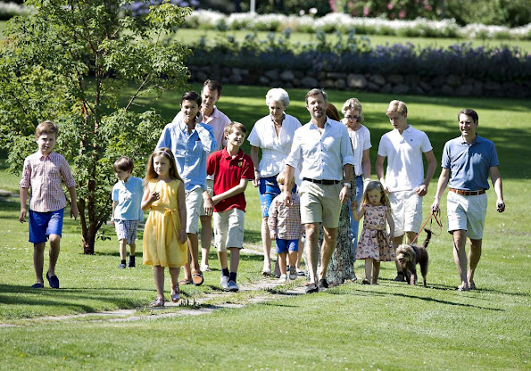 Danish Royal Family  posed for the media at the annual photo session at Grasten Slot. Queen Margrethe II, Prince Consort Henrik, Crown Princess Mary, Prince Felix, Crown Prince Frederick, Prince Christian, Prince Nikolai, Prince Joachim, Princess Marie, Princess Isabella and Prince Henrik