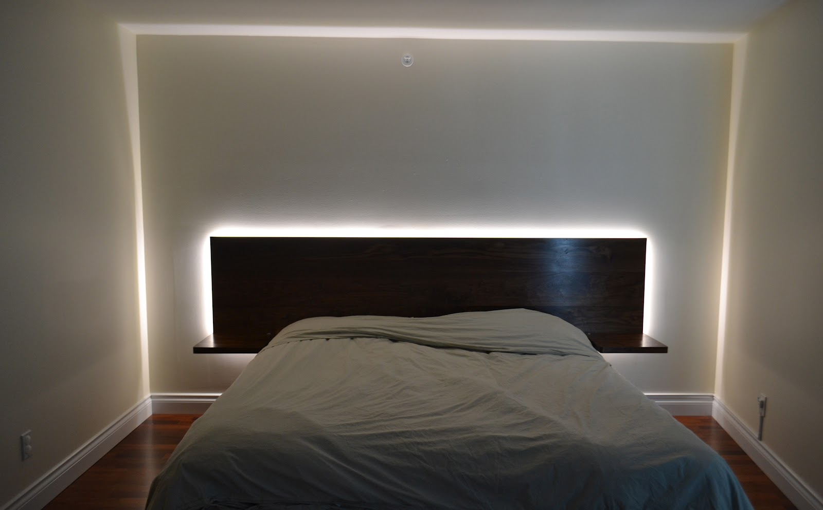 walnut headboard w led in element designs. Black Bedroom Furniture Sets. Home Design Ideas