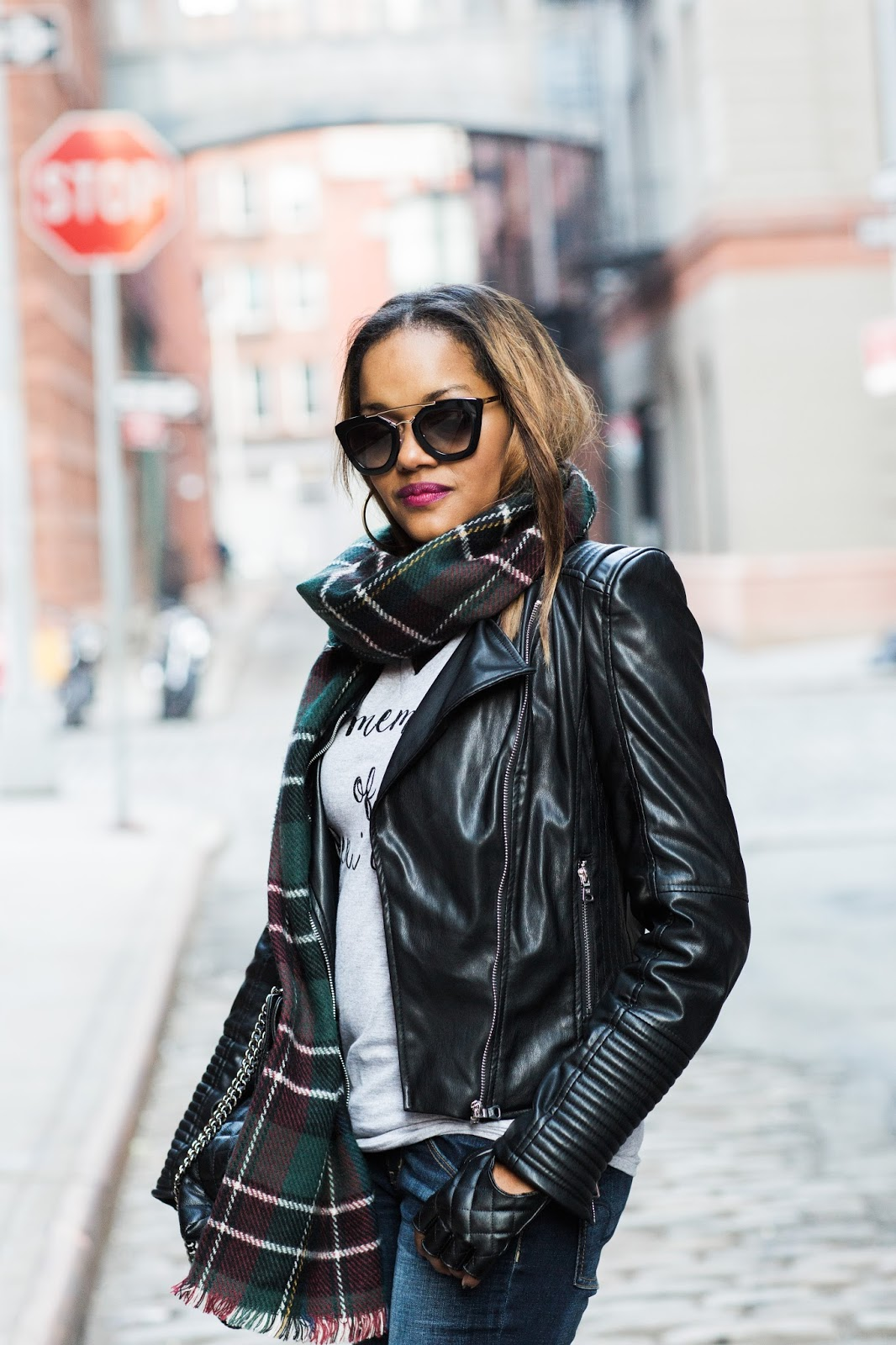 dallas fashion blogger, fashion blogger, how to wear graphic tee, blanket scarf, zara scarf, leather jacket outfit, prada sunglasses, look for less chanel bag, fingerless gloves, winter fashion