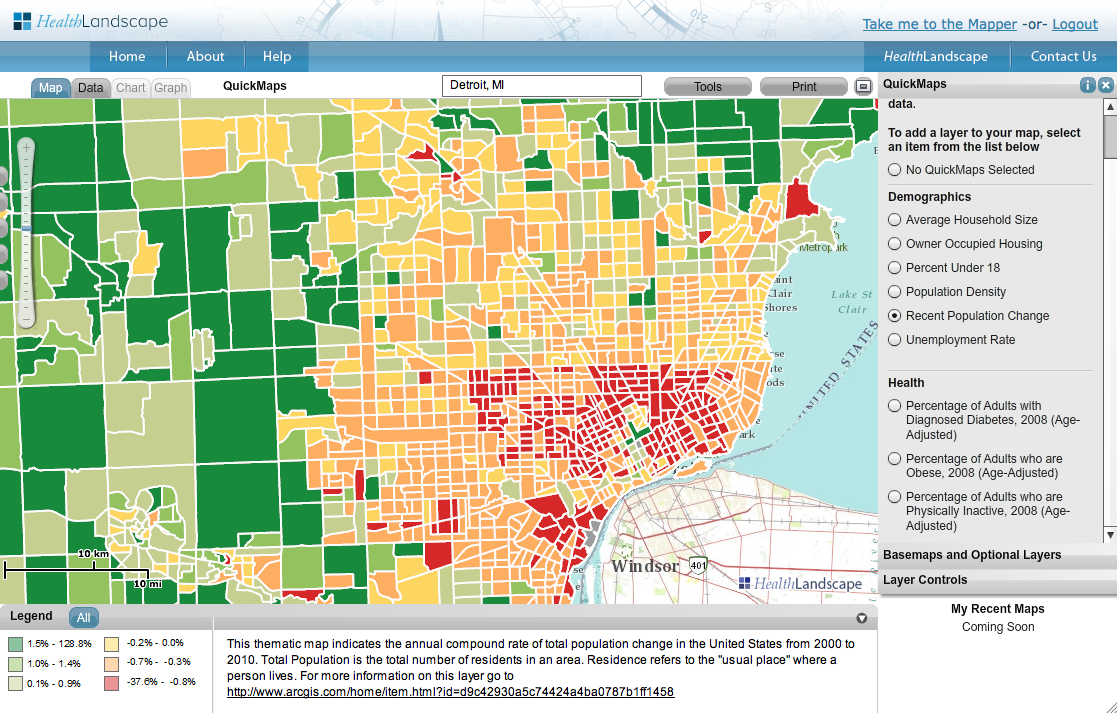 we created a quickmap of population change data in the detroit area and posted it on our pinterest site as an example follow us there and see how pinterest
