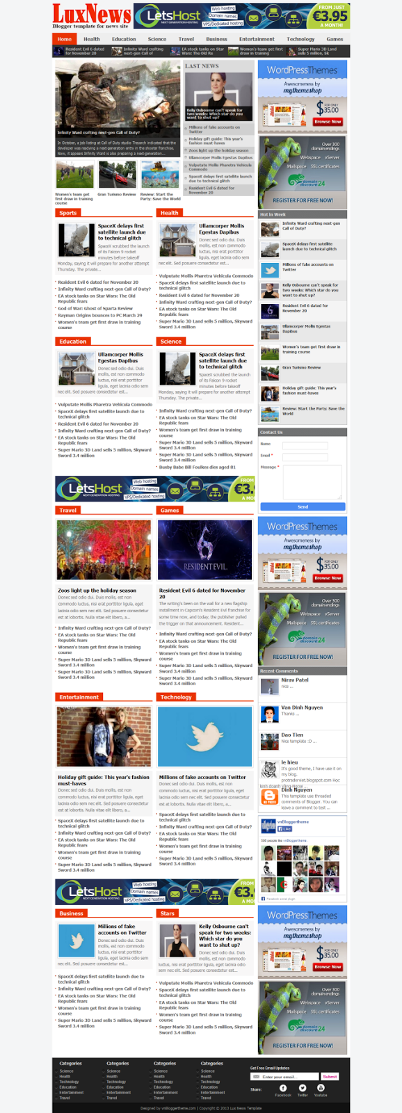 Lux News Blogger Template