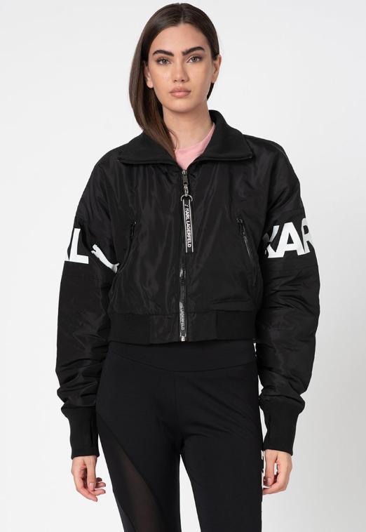 Puma jacheta neagra bomber cu imprimeu logo alb