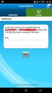 Konfirmasi Transfer Uang Lewat m Banking BRIS ke BCA