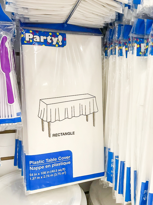 Dollar tree white plastic table cloth