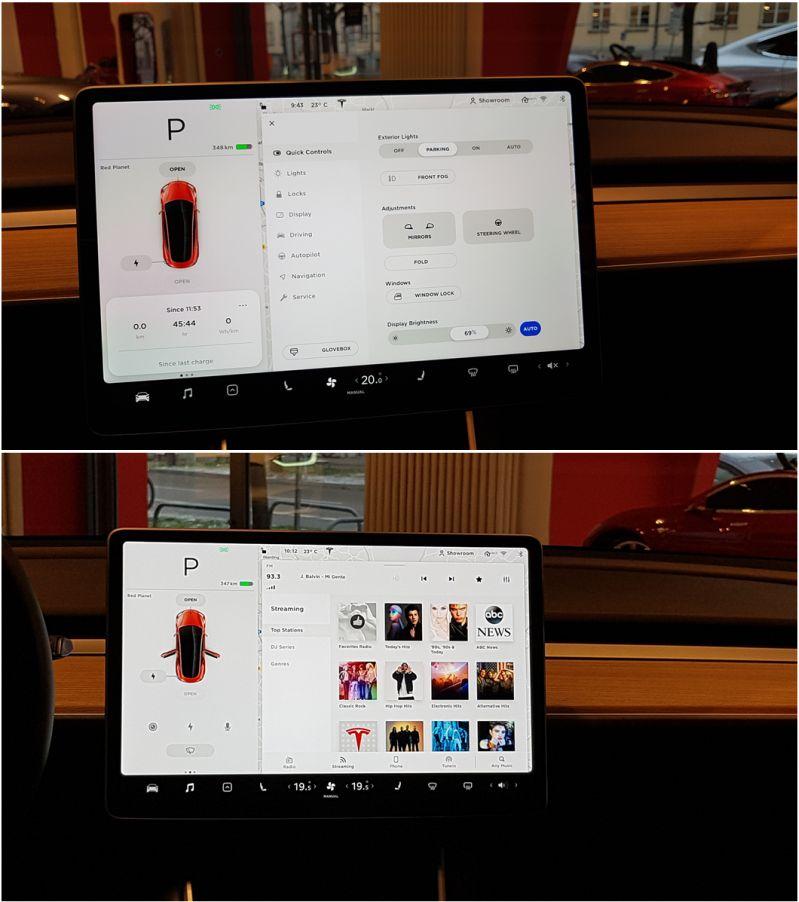 Tesla Model 3 Cockpitpanel zur Steuerung