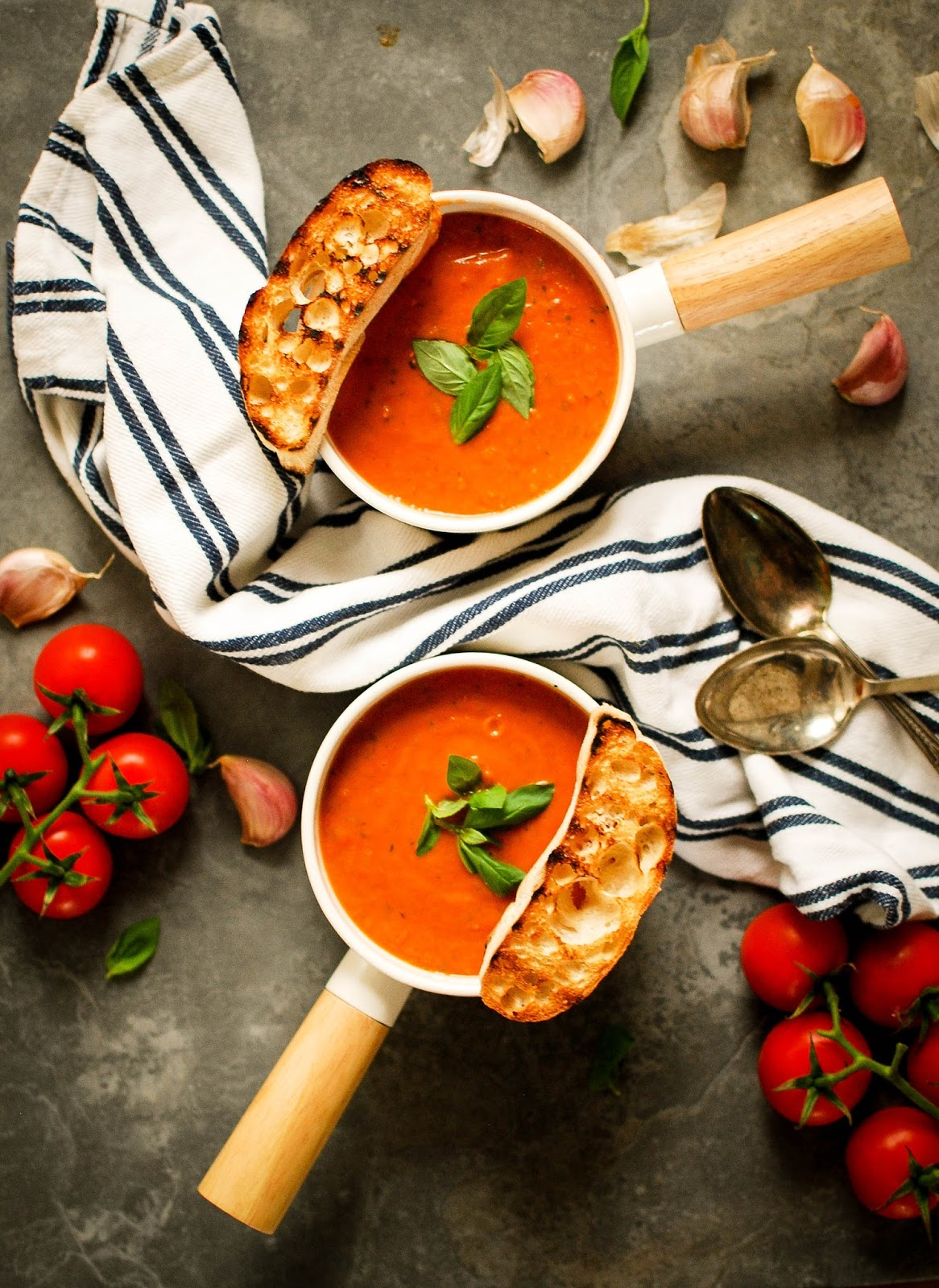 Roasted Tomato & bread soup. The ultimate hug in a mug winter comfort food.
