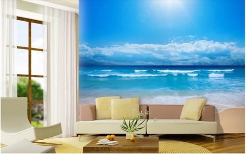 maisematapetti meri tapetti ranta meri aurinko vacation näkymä 3D valokuvatapetti olohuone