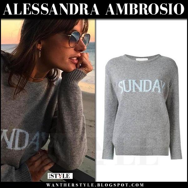 Alessandra Ambrosio in grey knit sunday sweater alberta ferretti what she wore