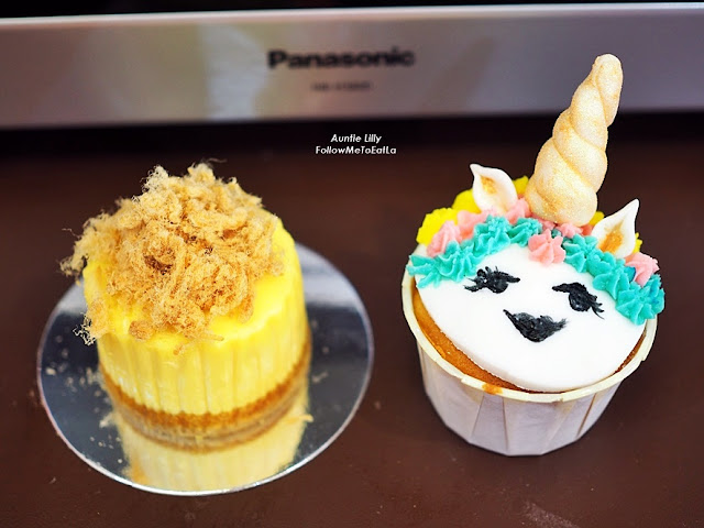 Creamy, Rich & Lucious Salted Egg Yolk Cheesecake with Kellogg's Corn Flakes & Dainty Cute Unicorn Cupcakes.