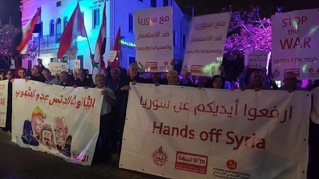 Cientos de israelíes protestan contra ataques de EEUU contra Siria