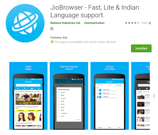 JioBrowser Mobile App With Indian Languages Support Launched for Android Smartphones