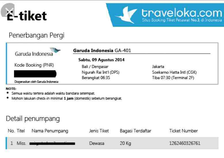 Inilah Contoh eTiket Traveloka dan Cara Menunjukkan Tiket