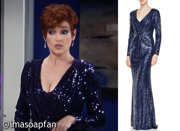 Diane Miller, Carolyn Hennesy, Sequined Blue Gown, Badgley Mischka, Nurses Ball, GH, General Hospital