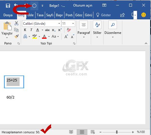 word hesap makinesi -www.ceofix.com