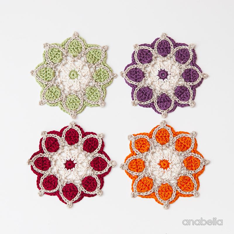 Winter Flowers crochet coasters, crochet motif # 1 / 2017 | Anabelia ...