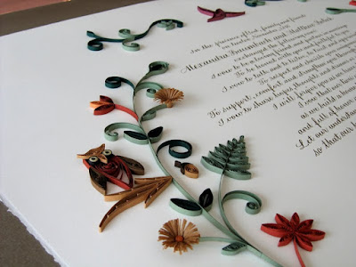 Marriage Certificate with Quilled Woodland Animals