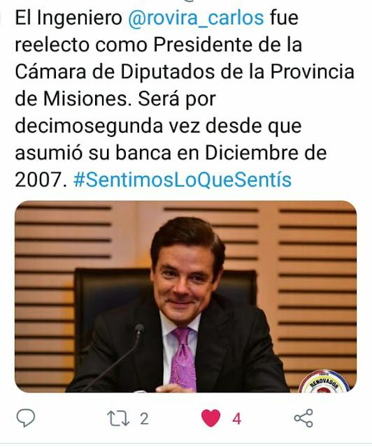 Carlos Rovira continuará conduciendo la Cámara de Diputados por un año más