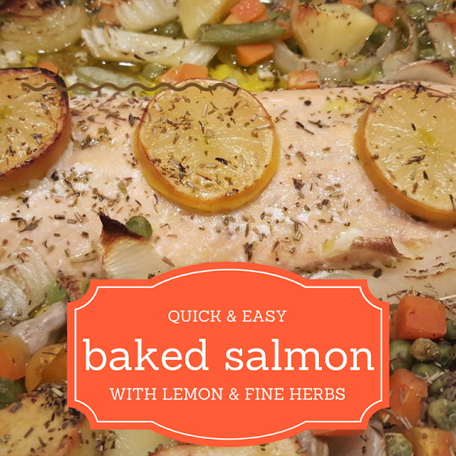 Baked salmon with lemon & fine herbs
