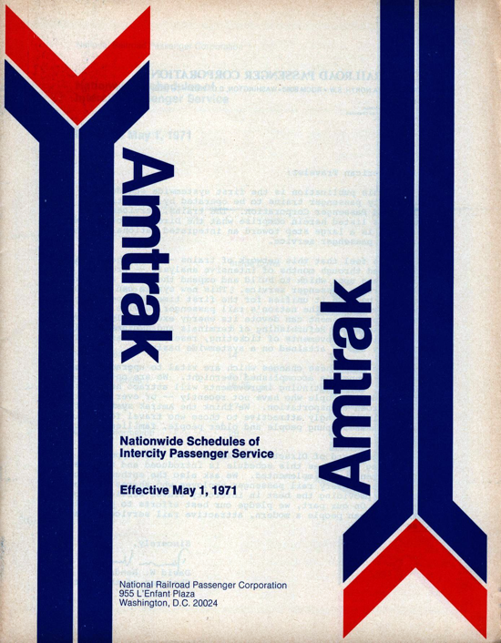 Amtrak first timetable 1971 - cover