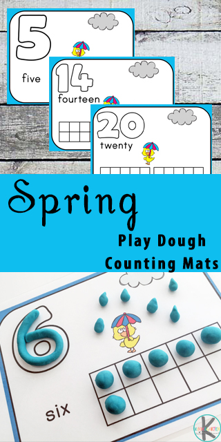 FREE Spring Playdough Counting Mats