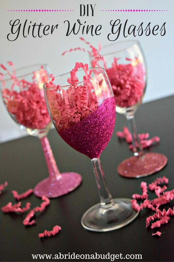 DIY Glitter Wine Glasses | A Bride On A Budget