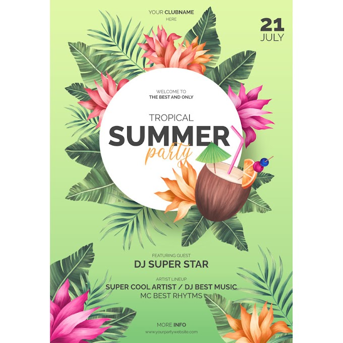 Tropical summer poster template Free Psd