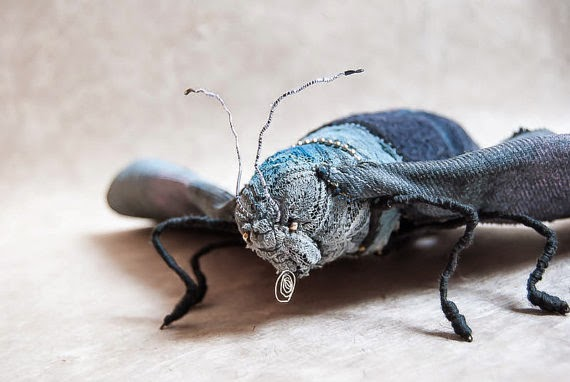 Lace sculpture, lace animals, lace insect, 3d fabric art, 3d textile art,