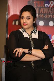 Tamil Actress Meena Latest Stills in Black Dress at TSR TV9 Awards Press Meet  0141.JPG