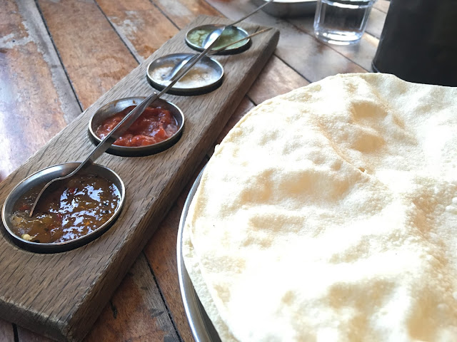 Poppadoms and pickles at The Thali Cafe in Bristol