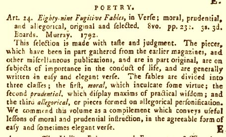 Monthly Review sur Eighty-nine Fugitive Fables in Verse... 1792