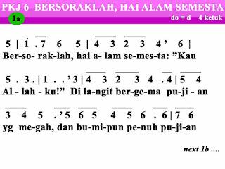 Lirik dan Not PKJ Bersoraklah, Hai Alam Semesta